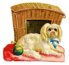 *The Graphics Fairy LLC*: Vintage Graphic - Cute Dog with Basket House