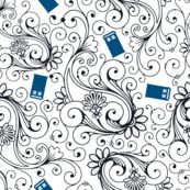 Blue Phone Boxes and Black Swirls on White - Large Swirls - risarocksit - Spoonflower  Really want at least a yard of this!!
