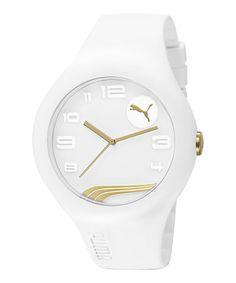 Look at this #zulilyfind! White & Gold Form XL Watch #zulilyfinds