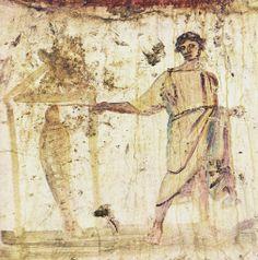 Resurrezione di Lazzaro, IV d.C. Catacomba dei Santi Pietro e Marcellino, Roma. Cultura cristiana romana