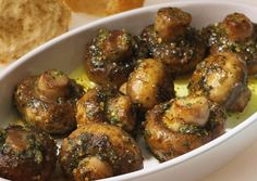 Roasted Garlic Mushrooms (the75g of butter is about 1/3 cup, the 50g of breadcrumbs is a scant 3/4 cup, approximately)---Can make ahead & bake later---