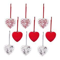VINTERMYS Hængende dekoration, hjerte forskellige farver, glas