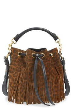 Saint Laurent 'Emmanuelle' Suede Fringe Bucket Bag available at #Nordstrom