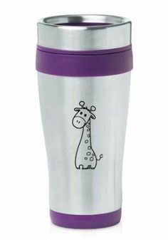 Purple 16oz Insulated Stainless Steel Travel Mug Z839 Cute Giraffe Cartoon: Amazon.co.uk: Kitchen & Home