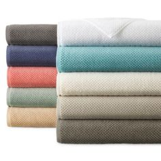 JCPenney Home™ Quick Dri Textured Solid Bath Towel Program and Quick Dri Ribbed Bath Rug Program - JCPenney Cheap Bedding Sets, Bedding Sets Online, Comforter Sets, Bathroom Towels, Bathroom Sets, Bath Towels, Bathrooms, Linen Pillows, Linen Bedding