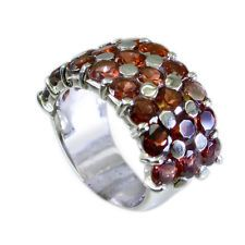 Garnet Silver Ring L-1in good Red indian AU KMOQ