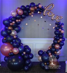 Circular Organic Balloon Arch in Navy & Rose Gold with Copper accents with LOVE script balloon. Balloon Display, Balloon Backdrop, Balloon Columns, Balloon Garland, Balloons Galore, Gold Balloons, Wedding Balloons, Birthday Balloon Decorations, Birthday Balloons