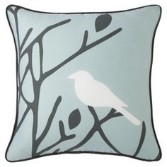 "Room 365™ Birds and Branches Pillow - 18x18""   a pretty blue to contrast the gray/white sofa set"
