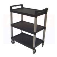 """Black 3 Shelf Cart, Each    $149.98    used restaurant equipment    3 shelf, 200 lb. capacity utility cart. 4"""" heavy-duty, non-marking casters. Applications range from industrial use to food service and bussing.    Features  Overview  Unit of MeasureEach  Dimensions36"""" l. x 16"""" w. x 35-15/16"""" h.  Weight (lbs)28  ColorBlack  Country of OriginMade in USA"""