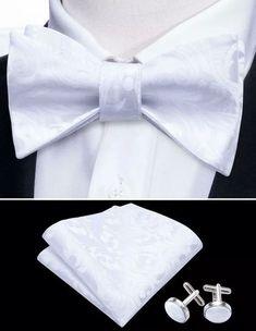 Men's Silk Bow Tie Set - White – Uylee's Boutique