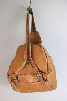 Vintage Caramel Brown Colombian Leather Backpack Satchel Bag