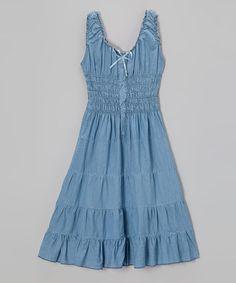 Look what I found on #zulily! Denim Shirred Dress - Toddler & Girls by Chillipop #zulilyfinds