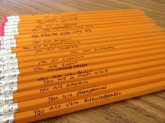 Get this---you can write on pencils with fine line Sharpies, making your own personalized pencils to hand out to students or to get back for further classroom use!