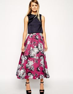 ASOS Premium | High Wasted Maxi Skirt in Printed Texture