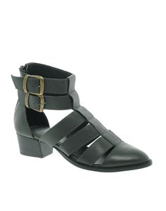 Dark green leather cut-out boots