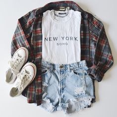 casual, clothes, converse, fashion, flannel, flannels, grunge, high waisted shorts, new york, new york city, nyc, outfit, outfits, plaid, style, tshirt, tumblr, white converse