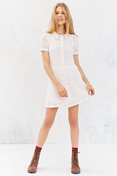 Cooperative Collared Crochet Shirt Dress