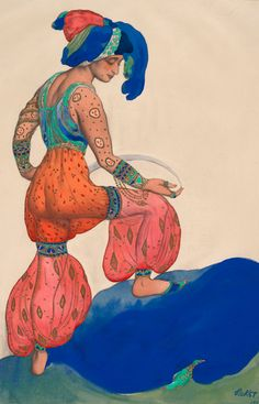 Costume design by Léon Bakst (1866-1924), 1922, Schéhérazade, The Blue Sultana. Howard D. Rothschild.