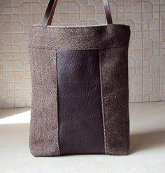 Upcycled Wool Herringbone Leather Tote Bag/ by JuneberryStitches, $32.00