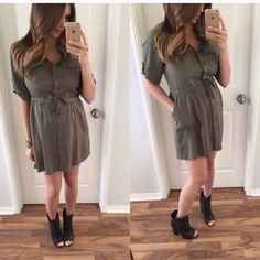 """Army greet cute shirt dress Size small. NWT. 33"""" length 18"""" across chest and 16"""" at waist. Dresses"""