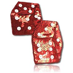 Beautiful & Custom x Inch} 1 of [Sew-On & Glue-On] Embroidered Applique Patch Made of Beads & Sequins w/Beautiful Metallic & Glossy Light Reflective Dice Pair Duo Attached Style {Red, White} Sew On Patches, Dice, Art Forms, Floral Tie, Applique, Metallic, Sequins, Make It Yourself, Beads