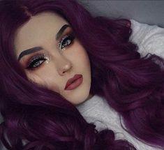 Hair Color Purple, Cool Hair Color, Purple Lace, Violet Hair Colors, Reddish Purple Hair, Curly Purple Hair, Dramatic Hair Colors, Deep Purple, Curly Lace Front Wigs