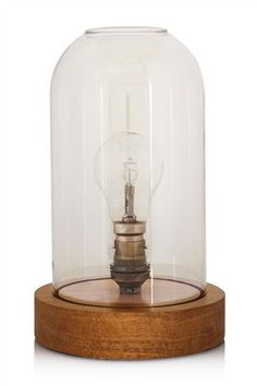 Buy Glass Dome And Wood Table Lamp from the Next UK online shop
