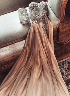 2016 Champagne Chiffon Crystals Prom Dress.