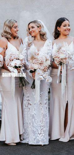 Simple Spaghetti Straps Sexy V-neck Slit Long Bridesmaid Dress, FC5350 #bridesmaiddresses #bridesmaiddress #bridesmaids #dressesformaidofhonor #weddingparty #2021bridesmaiddresses #2021wedding Backless Bridesmaid Dress, Mermaid Bridesmaid Dresses, Bridesmaids, Wedding Dresses, Inexpensive Bridesmaid Dresses, Elastic Satin, Spaghetti Straps, V Neck, Silk