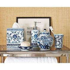 Inspired by Asian Ming design, I haven't seen bath accessories this stylish in a long time. Made of porcelain, Williams Sonoma Home is synon. Navy Blue Bathrooms, Blue Rooms, Black And White Interior, White Interior Design, Blue And White China, Blue China, Simply Bathrooms, Asian Bathroom, White Bathroom