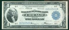 "1918, $1 Federal Reserve Bank Note. PCGS Very Fine 25 The Chicago district bank issued this $1 ""Spread Eagle."" Estimated Value $70 - 90. #Banknotes #USFederal #MADonC"
