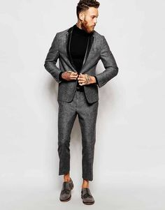 ASOS Skinny Suit With Faux Leather Trim