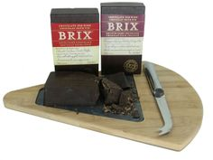 Deluxe Brix Chocolates on a Granite & Bamboo Cuttling Board Dark Chocolate Bar, Gourmet Gift Baskets, Chocolates, Granite, Wines, Red Wine, Wine Glass, Bamboo, Board