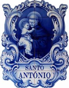High quality Lisbon inspired Wall Art by independent artists and designers from around the world. Tile Murals, Tile Art, Mosaic Tiles, Catholic Art, Catholic Saints, Delft, Saint Anthony Of Padua, Portuguese Tiles, Blue Tiles