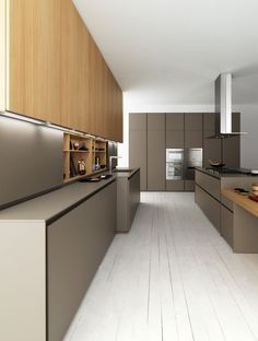 Zampieri - #Axis 012 kitchen in lacquered matt titanium and bleached spruce wood.