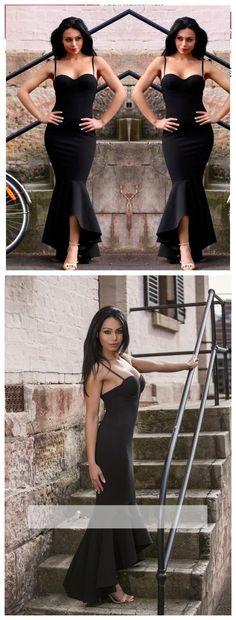 Sexy Simple Black Mermaid Prom Dresses Spaghetti Straps