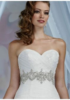 Beaded Elegant Embroidery Tulle Lace And Satin A-Line Sweetheart Wedding Dresses