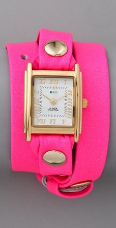 La Mer Collections Neon Simple Wrap Watch in Pink