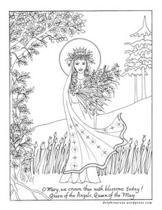 may queen catholic coloring page