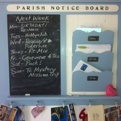 Notice Board. Files for volunteer sign in and misc. papers!