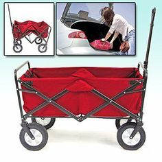 Mac Sports Folding Utility Wagon in Red by Mac Sports. $67.45. Weight capacity of 150 lbs; Folds conveniently and compactly and stores easy; Strong solid frame construction and durable 600 Denier Polyester fabric; Please note that it is NOT made to transport small or any age children.; Quick and easy set up; Open Dimension: 37 x 21 x 23(inches). This wagon has infinite uses for anything to avoid high lifting when needing to load something heavy or bulky. Use this wagon for c...
