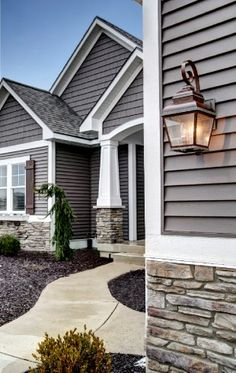 Exterior House design with stone and gray. Exterior House design with stone and gray. Exterior Colonial, Traditional Exterior, Exterior House Colors, Exterior Design, Siding Colors For Houses, Exterior Paint Colors For House With Stone, Stone On House Exterior, House Exteriors, Traditional Design