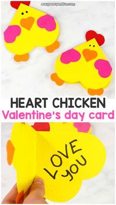 """""""Watercolor Heart Process Art"""" Easy Peasy and Fun """"Heart Chicken Craft – Simple Valentine's Day Card Idea"""" Rainy Day Mum """"Colored Salt Dough Hearts For Threading With Preschoolers"""" Toddler Valentine Crafts, Toddler Crafts, Valentines, Farm Animal Crafts, Bear Crafts, Fun Projects For Kids, Valentine's Day Crafts For Kids, Easy Paper Crafts, Paper Plate Crafts"""