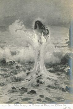 The Birth of Venus by William Cot, Goddess Aphrodite Sensual Magic Mermaid Fine Art Painting Original 1900s Postcard Rare Collectable by TheVintageProphecy on Etsy https://www.etsy.com/listing/235920498/the-birth-of-venus-by-william-cot