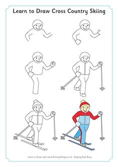 Learn to draw cross country skiing