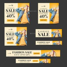 Banner Design Inspiration, Web Banner Design, Set Fashion, Fashion Sale, Social Media Banner, Social Media Design, Creative Advertising, Firma Email, Photoshop