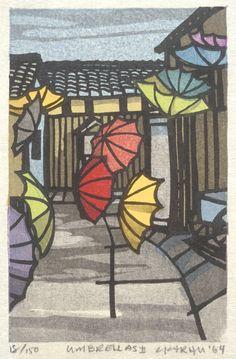Clifton Karhu (United States, Minnesota, Duluth, active Japan, born 1927) - Umbrellas II - Color woodblock print, Japan, 1964