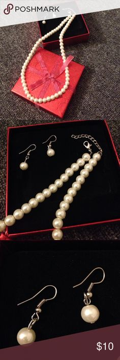💗Women's Faux Pearl Earrings & Necklace Set💗 💗Women's Faux Pearl Earrings & Necklace Set💗 Dress it up or down, wear together or separately! Purchased at: Macy's Macy's Jewelry Necklaces