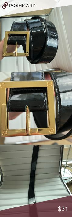 TORY BURCH WOMENS GLOSSY LEATHER BLACK BELT TORY BURCH WOMENS GLOSSY LEATHER BLACK BELT WITH GOLD SQUARE BUCKLE DETAILS •	100% Authentic and can be verified at any Tory Burch Store •	Size 30-34 •	Total leght 38 in •	1.5in Width •	Gold Square Buckle •	Scuffs, scratches, wrinkles, and dents •	Black Glossy Leather •	MSRP: 200+ •	Belt Only  Shipping •	FREE 1-3 DAY SHIPPING! •	IF PRODUCT ORDERED BEFORE 2PM CST I WILL SHIP SAME DAY! •	I will ship with insurance since it is a luxury item. •	Will…