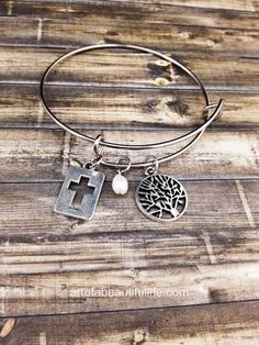 Christian Expandable Boho Bangle Bracelet Cross Charm | Christian Jewelry | Expandable Bracelet Bangle with Cross Cutout, Tree, and Freshwater Pearl  | Handmade, Unique Gift Ideas  by Simply Topaz (handmade jewelry)